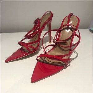 Kaia red pointed heels